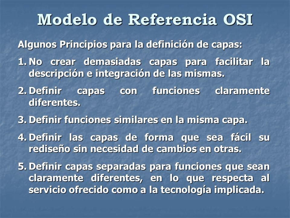 Modelo de Referencia OSI Algunos Principios para la definición de capas: 1.No crear demasiadas capas para facilitar la descripción e integración de la