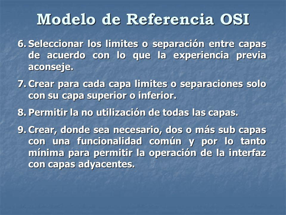 Modelo de Referencia OSI 6.Seleccionar los limites o separación entre capas de acuerdo con lo que la experiencia previa aconseje. 7.Crear para cada ca