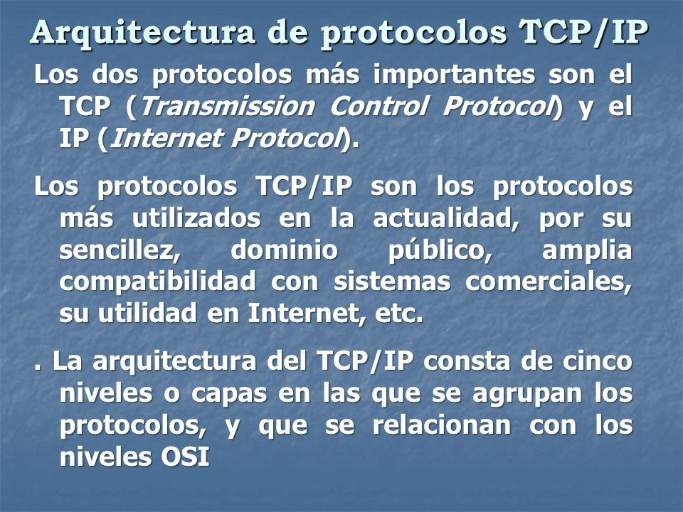 Arquitectura de protocolos TCP/IP Los dos protocolos más importantes son el TCP (Transmission Control Protocol) y el IP (Internet Protocol). Los proto