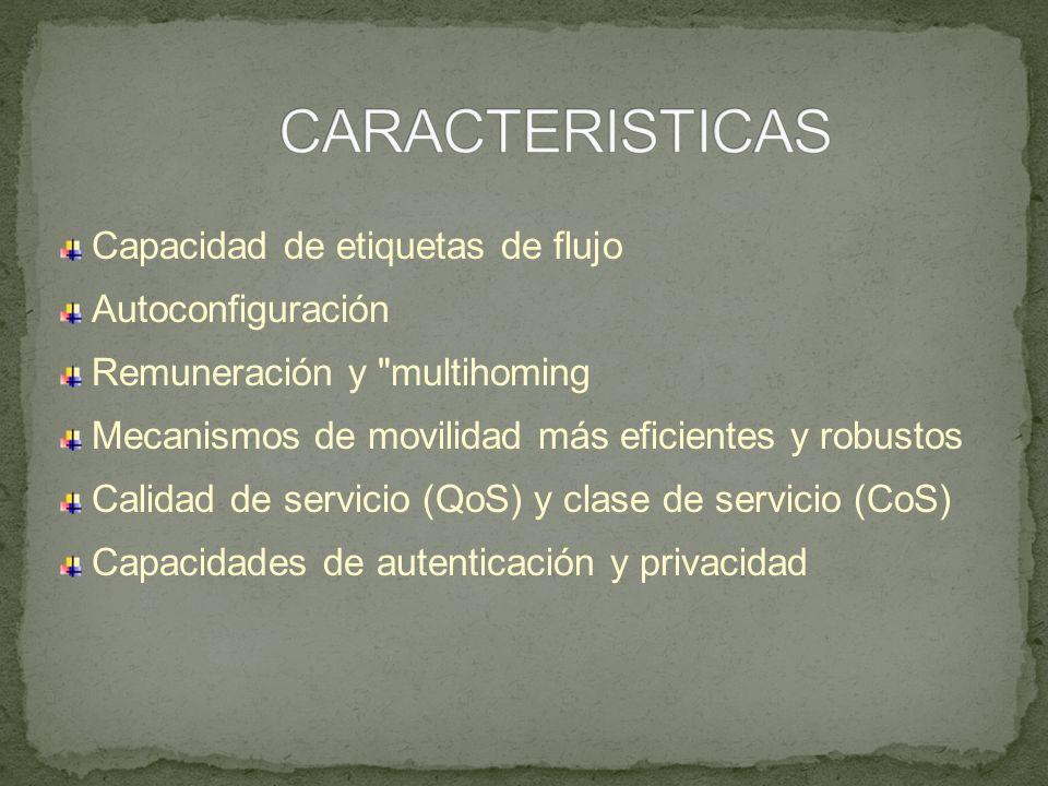 Capacidad de etiquetas de flujo Autoconfiguración Remuneración y