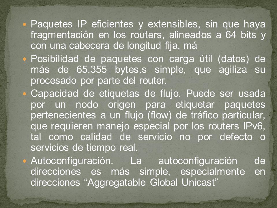 Paquetes IP eficientes y extensibles, sin que haya fragmentación en los routers, alineados a 64 bits y con una cabecera de longitud fija, má Posibilid