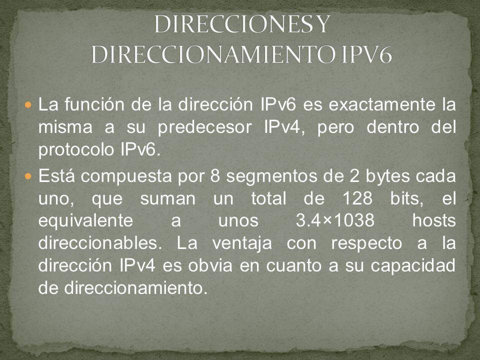 La función de la dirección IPv6 es exactamente la misma a su predecesor IPv4, pero dentro del protocolo IPv6. Está compuesta por 8 segmentos de 2 byte