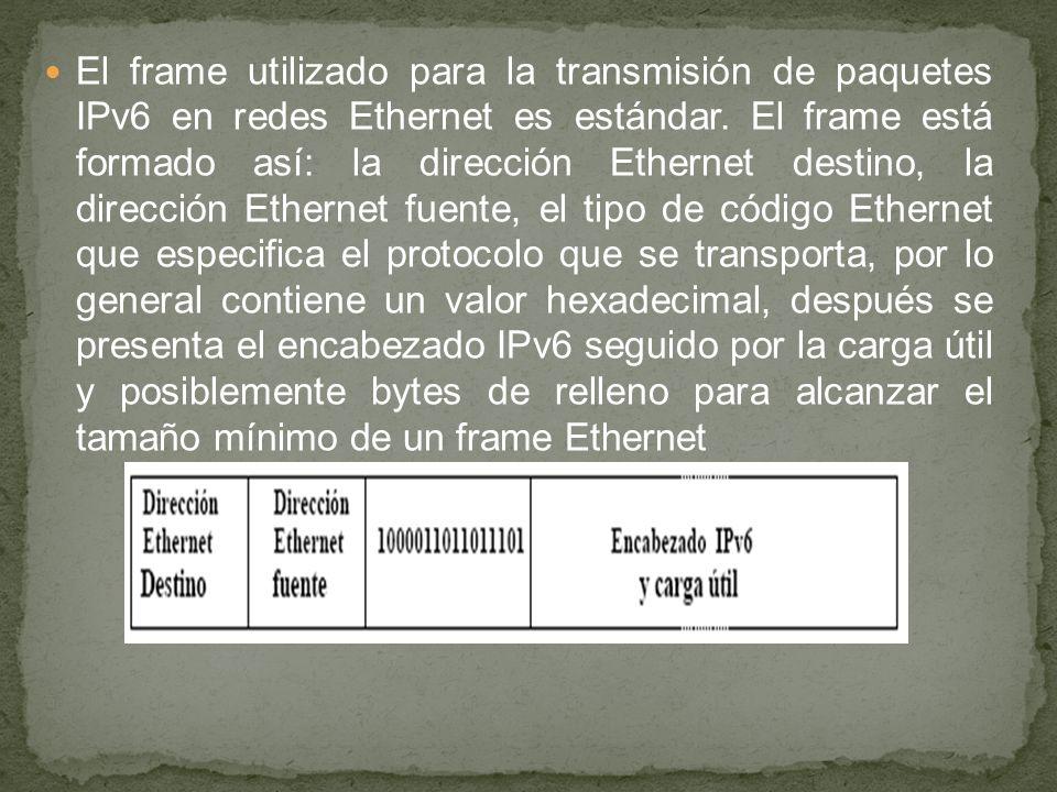 El frame utilizado para la transmisión de paquetes IPv6 en redes Ethernet es estándar. El frame está formado así: la dirección Ethernet destino, la di