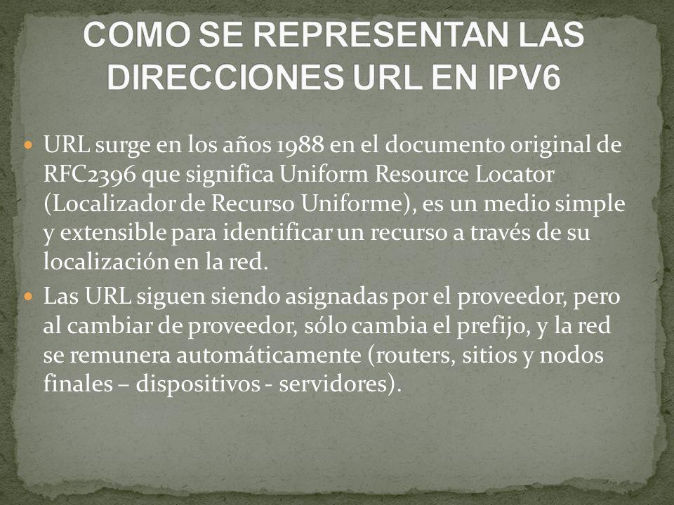 URL surge en los años 1988 en el documento original de RFC2396 que significa Uniform Resource Locator (Localizador de Recurso Uniforme), es un medio s