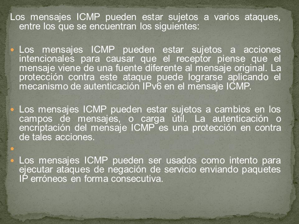 Los mensajes ICMP pueden estar sujetos a varios ataques, entre los que se encuentran los siguientes: Los mensajes ICMP pueden estar sujetos a acciones