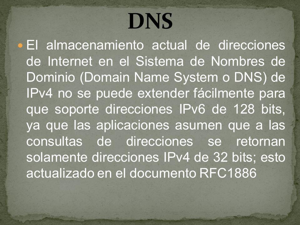 El almacenamiento actual de direcciones de Internet en el Sistema de Nombres de Dominio (Domain Name System o DNS) de IPv4 no se puede extender fácilm