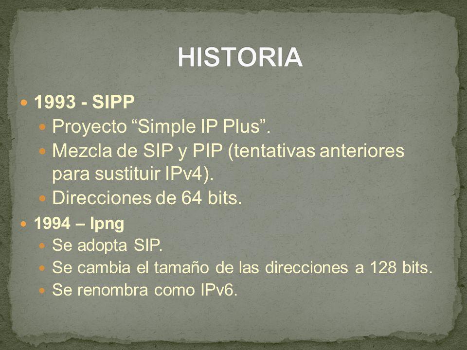 1993 - SIPP Proyecto Simple IP Plus. Mezcla de SIP y PIP (tentativas anteriores para sustituir IPv4). Direcciones de 64 bits. 1994 – Ipng Se adopta SI