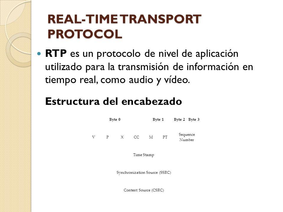 REAL-TIME TRANSPORT PROTOCOL RTP es un protocolo de nivel de aplicación utilizado para la transmisión de información en tiempo real, como audio y víde