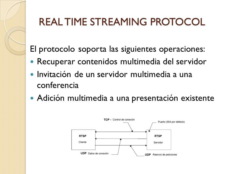 REAL TIME STREAMING PROTOCOL El protocolo soporta las siguientes operaciones: Recuperar contenidos multimedia del servidor Invitación de un servidor m