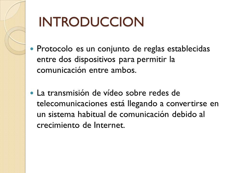 INTRODUCCION Protocolo es un conjunto de reglas establecidas entre dos dispositivos para permitir la comunicación entre ambos. La transmisión de vídeo