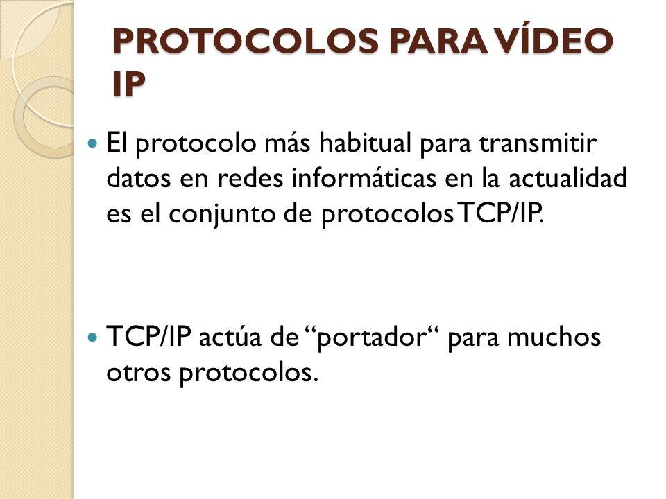 PROTOCOLOS TCP/IP PARA EL VÍDEO IP Los protocolos habituales y sus números de puerto utilizados para la transferencia de vídeo IP incluyen: Protocolo Protocolo de transporte PuertoUso comúnUso vídeo en red FTP File Transfer Protocol TCP21 Transferencia de ficheros a través de Internet/intranets Transferencia de imágenes o vídeo desde una cámara de red o servidor de vídeo a un servidor FTP o a una aplicación SMTP Send Mail Transfer Protocol TCP25 Protocolo para el envío de e- mails Una cámara de red o servidor de vídeo puede enviar imágenes o notificaciones de alarma utilizando su cliente integrado de e- mail HTTP Hyper Text Transfer Protocol TCP80 Utilizado para navegar en la web, p.e.