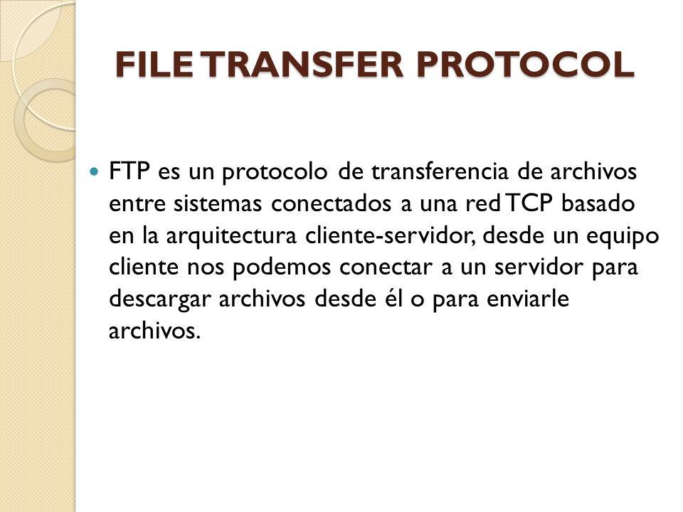 FILE TRANSFER PROTOCOL FTP es un protocolo de transferencia de archivos entre sistemas conectados a una red TCP basado en la arquitectura cliente-serv