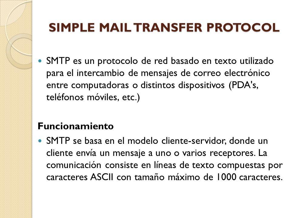 SIMPLE MAIL TRANSFER PROTOCOL SMTP es un protocolo de red basado en texto utilizado para el intercambio de mensajes de correo electrónico entre comput