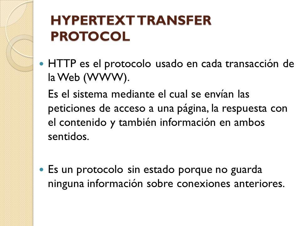 HYPERTEXT TRANSFER PROTOCOL HTTP es el protocolo usado en cada transacción de la Web (WWW). Es el sistema mediante el cual se envían las peticiones de