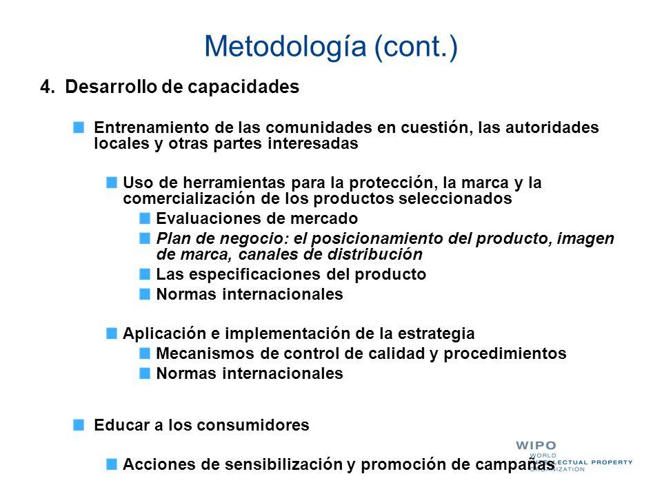 Metodología (cont.) 4.Desarrollo de capacidades Entrenamiento de las comunidades en cuestión, las autoridades locales y otras partes interesadas Uso d
