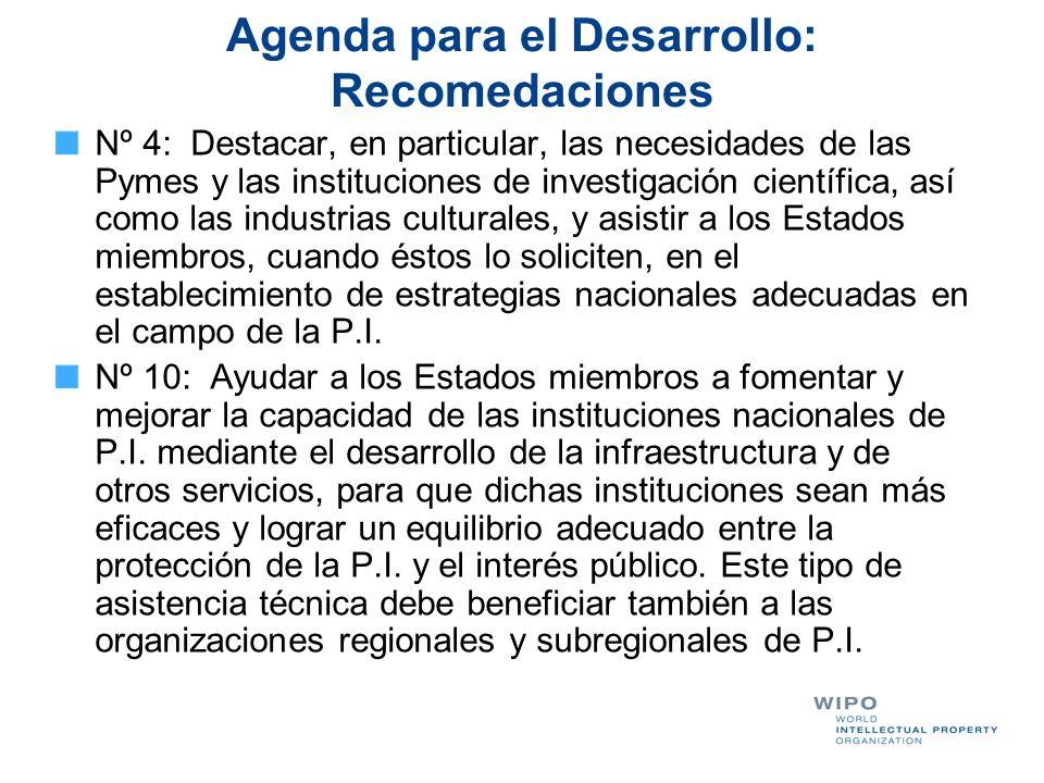 Agenda para el Desarrollo: Recomedaciones Nº 4: Destacar, en particular, las necesidades de las Pymes y las instituciones de investigación científica,