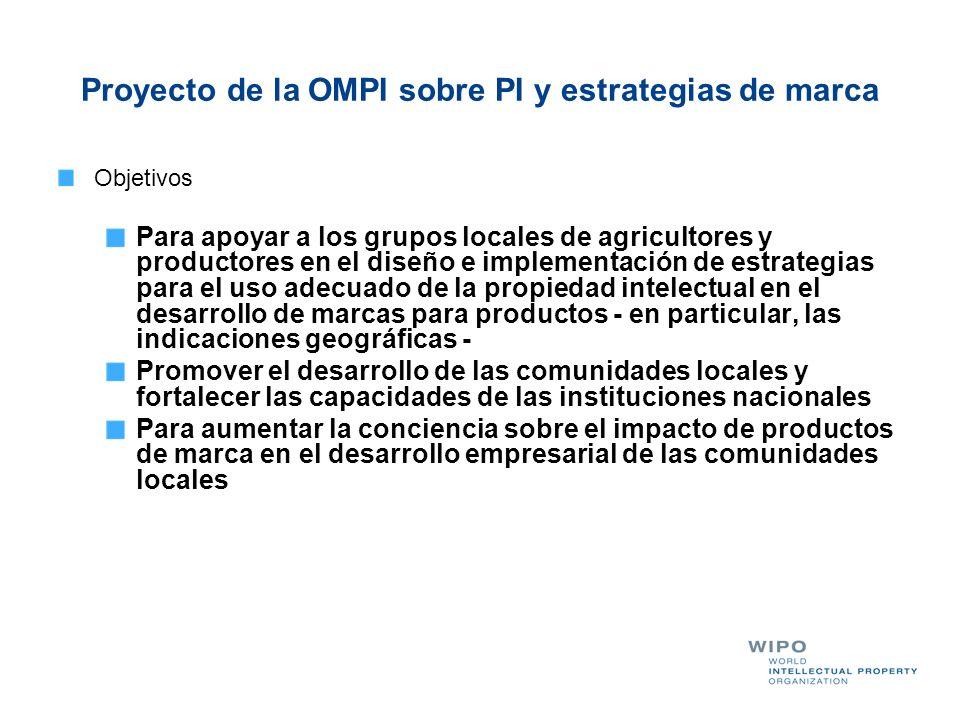 Proyecto de la OMPI sobre PI y estrategias de marca Objetivos Para apoyar a los grupos locales de agricultores y productores en el diseño e implementa