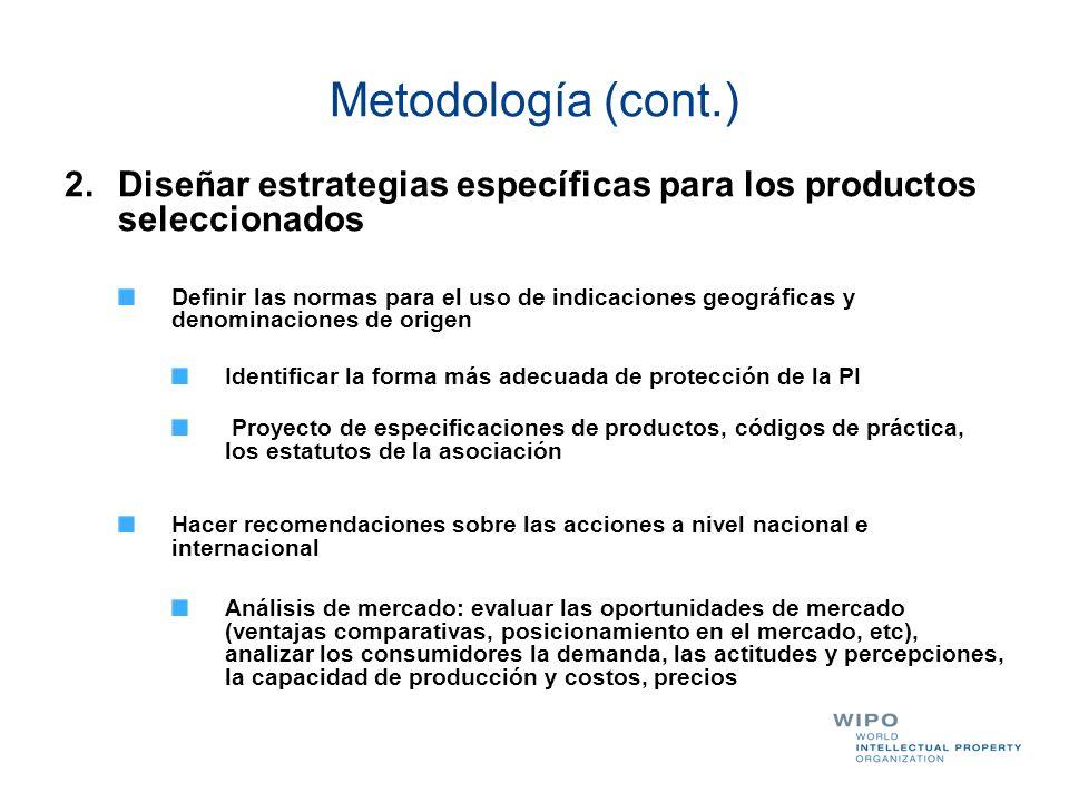 Metodología (cont.) 2.Diseñar estrategias específicas para los productos seleccionados Definir las normas para el uso de indicaciones geográficas y de