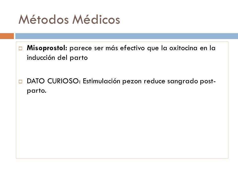 Métodos Médicos Misoprostol: parece ser más efectivo que la oxitocina en la inducción del parto DATO CURIOSO: Estimulación pezon reduce sangrado post-
