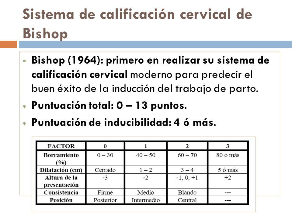 Sistema de calificación cervical de Bishop Bishop (1964): primero en realizar su sistema de calificación cervical moderno para predecir el buen éxito