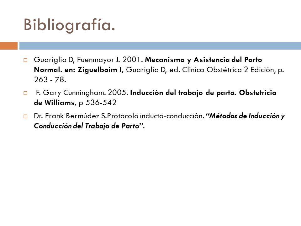 Bibliografía. Guariglia D, Fuenmayor J. 2001. Mecanismo y Asistencia del Parto Normal. en: Ziguelboim I, Guariglia D, ed. Clínica Obstétrica 2 Edición