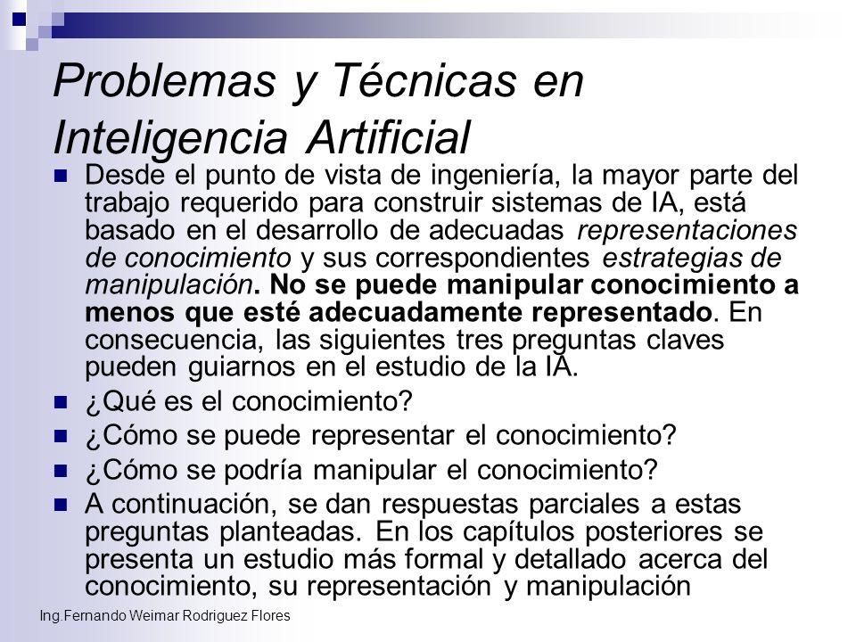 Ing.Fernando Weimar Rodriguez Flores Problemas y Técnicas en Inteligencia Artificial Desde el punto de vista de ingeniería, la mayor parte del trabajo