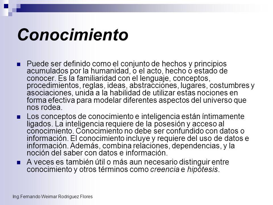 Ing.Fernando Weimar Rodriguez Flores Conocimiento Puede ser definido como el conjunto de hechos y principios acumulados por la humanidad, o el acto, h