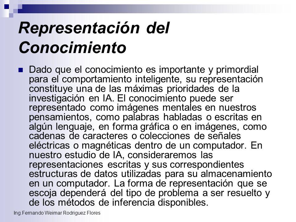Ing.Fernando Weimar Rodriguez Flores Representación del Conocimiento Dado que el conocimiento es importante y primordial para el comportamiento inteli