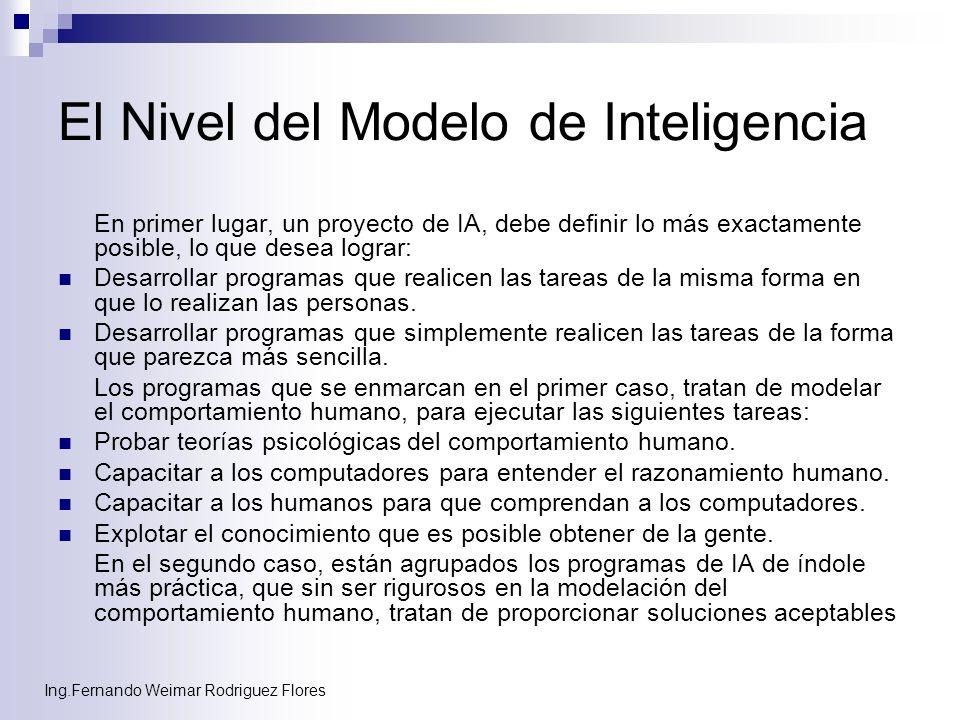 Ing.Fernando Weimar Rodriguez Flores El Nivel del Modelo de Inteligencia En primer lugar, un proyecto de IA, debe definir lo más exactamente posible,