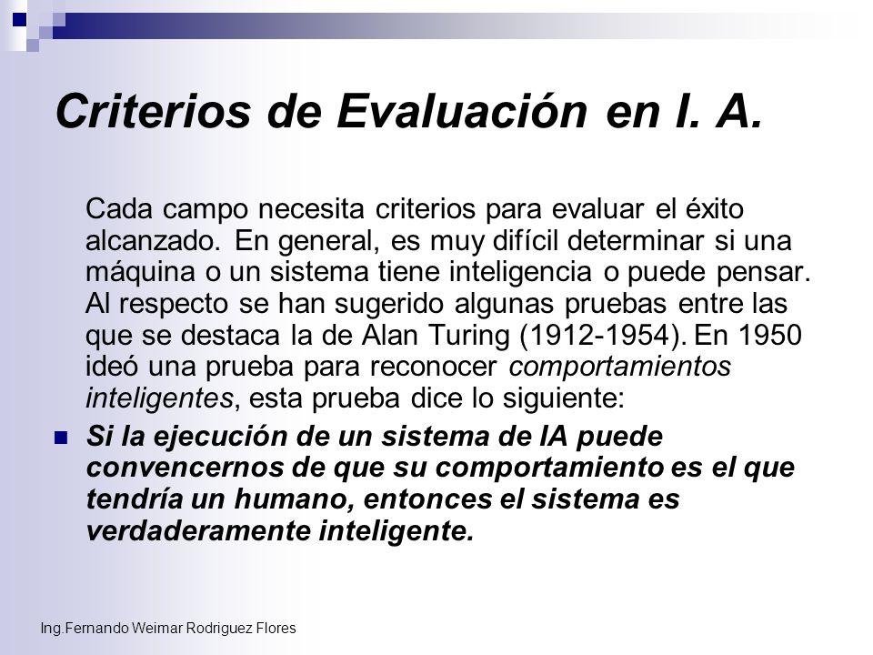 Ing.Fernando Weimar Rodriguez Flores Criterios de Evaluación en I. A. Cada campo necesita criterios para evaluar el éxito alcanzado. En general, es mu