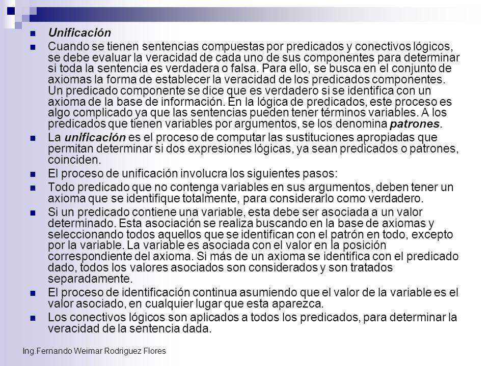 Ing.Fernando Weimar Rodriguez Flores Unificación Cuando se tienen sentencias compuestas por predicados y conectivos lógicos, se debe evaluar la veraci