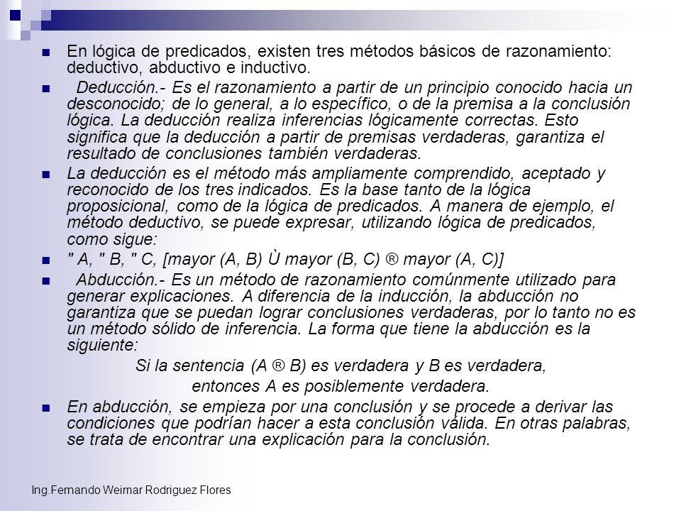 Ing.Fernando Weimar Rodriguez Flores En lógica de predicados, existen tres métodos básicos de razonamiento: deductivo, abductivo e inductivo. Deducció