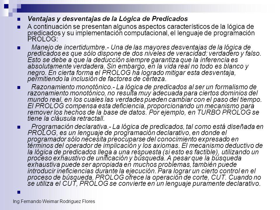 Ing.Fernando Weimar Rodriguez Flores Ventajas y desventajas de la Lógica de Predicados A continuación se presentan algunos aspectos característicos de