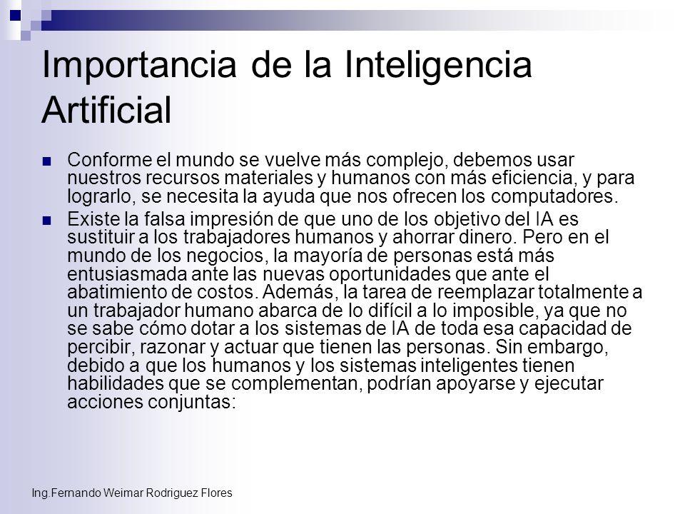 Ing.Fernando Weimar Rodriguez Flores Importancia de la Inteligencia Artificial Conforme el mundo se vuelve más complejo, debemos usar nuestros recurso
