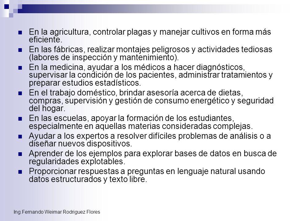 Ing.Fernando Weimar Rodriguez Flores En la agricultura, controlar plagas y manejar cultivos en forma más eficiente. En las fábricas, realizar montajes
