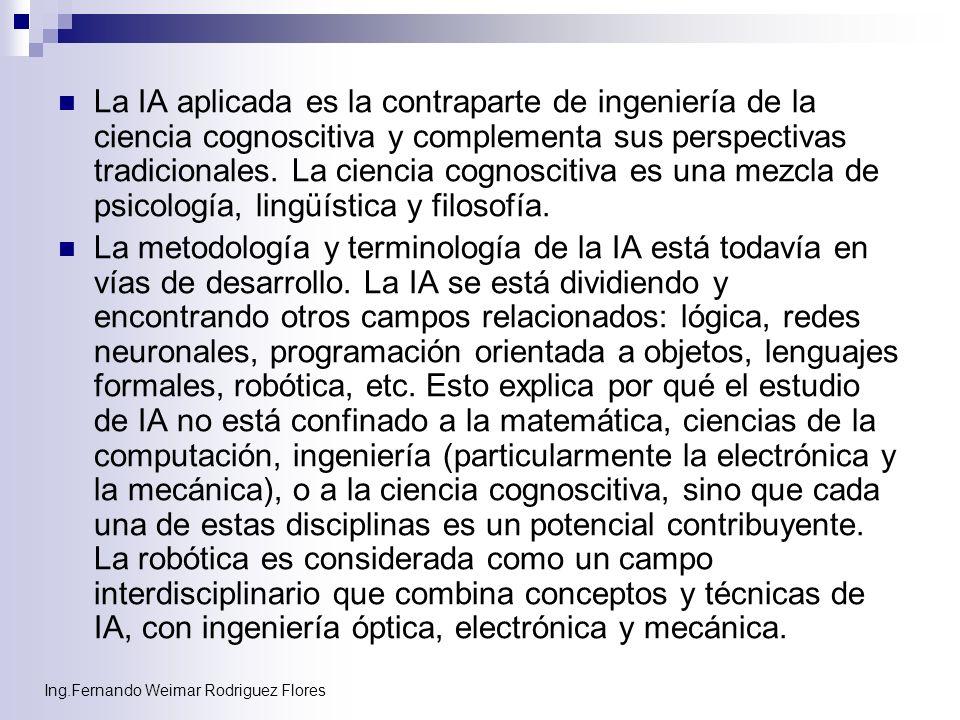Ing.Fernando Weimar Rodriguez Flores La IA aplicada es la contraparte de ingeniería de la ciencia cognoscitiva y complementa sus perspectivas tradicio