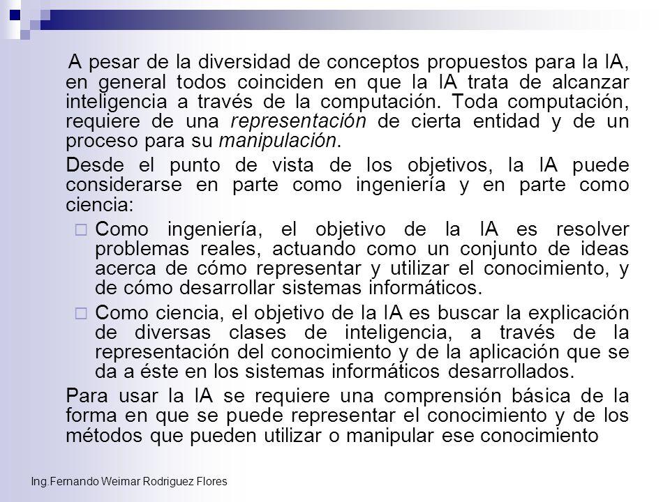Ing.Fernando Weimar Rodriguez Flores A pesar de la diversidad de conceptos propuestos para la IA, en general todos coinciden en que la IA trata de alc