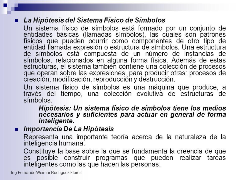 Ing.Fernando Weimar Rodriguez Flores La Hipótesis del Sistema Físico de Símbolos Un sistema físico de símbolos está formado por un conjunto de entidad