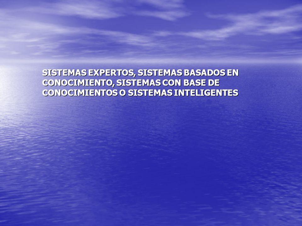 SISTEMAS EXPERTOS, SISTEMAS BASADOS EN CONOCIMIENTO, SISTEMAS CON BASE DE CONOCIMIENTOS O SISTEMAS INTELIGENTES