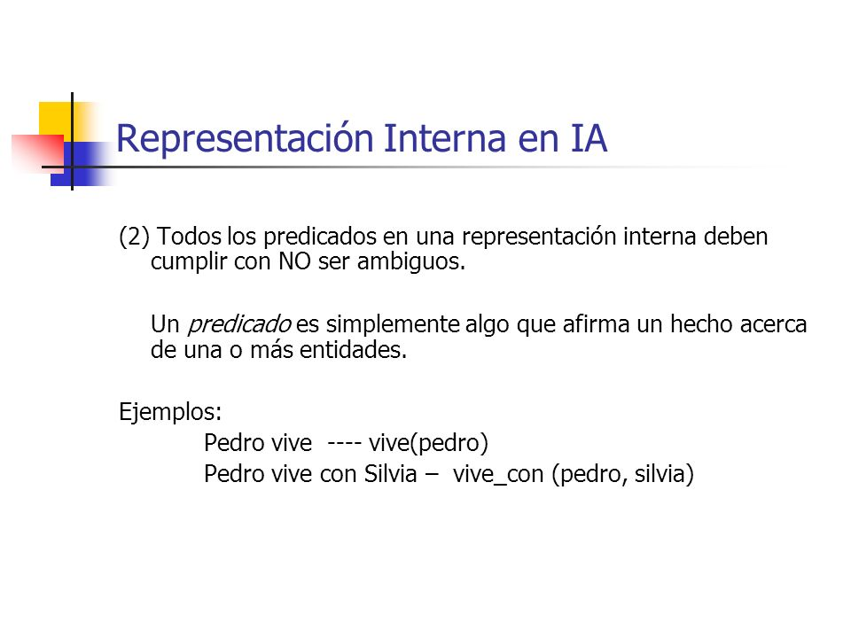 Representación Interna en IA (2) Todos los predicados en una representación interna deben cumplir con NO ser ambiguos. Un predicado es simplemente alg