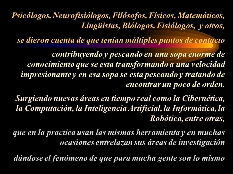 Psicólogos, Neurofisiólogos, Filósofos, Físicos, Matemáticos, Lingüistas, Biólogos, Fisiólogos, y otros, se dieron cuenta de que tenían múltiples punt