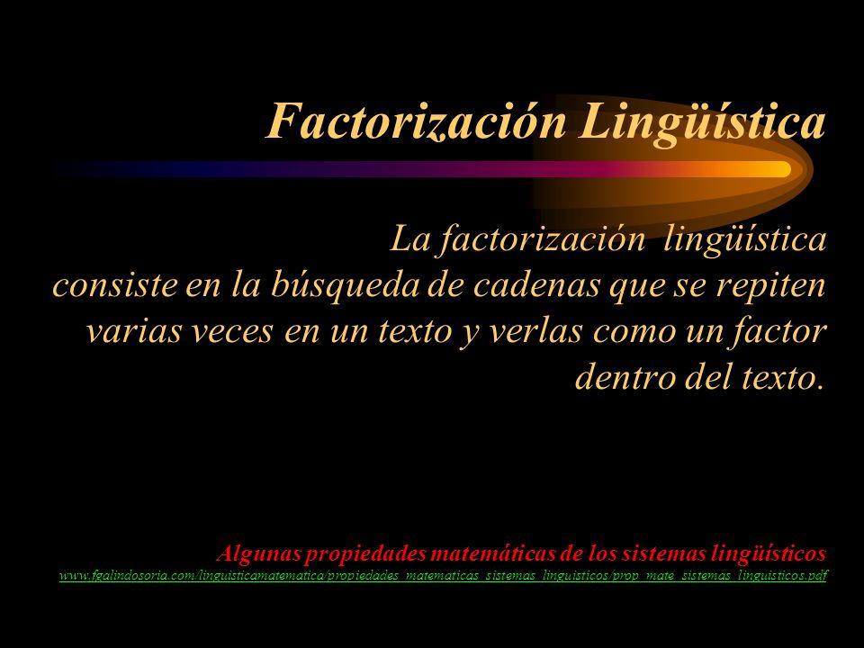 Factorización Lingüística La factorización lingüística consiste en la búsqueda de cadenas que se repiten varias veces en un texto y verlas como un fac