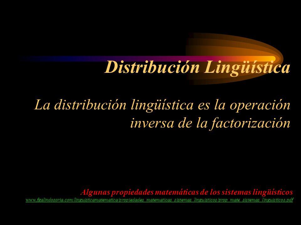 Distribución Lingüística La distribución lingüística es la operación inversa de la factorización Algunas propiedades matemáticas de los sistemas lingü