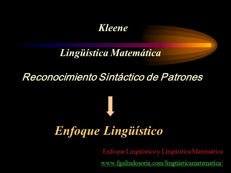 Kleene Lingüística Matemática Reconocimiento Sintáctico de Patrones Enfoque Lingüístico Enfoque Lingüístico y Lingüística Matemática www.fgalindosoria