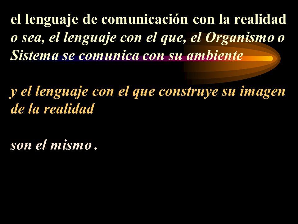 el lenguaje de comunicación con la realidad o sea, el lenguaje con el que, el Organismo o Sistema se comunica con su ambiente y el lenguaje con el que