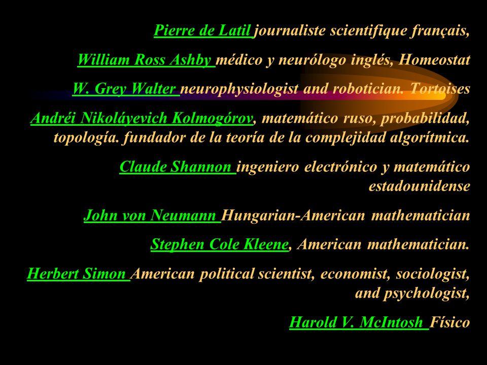 Pierre de Latil Pierre de Latil journaliste scientifique français, William Ross Ashby médico y neurólogo inglés, Homeostat W. Grey Walter neurophysiol