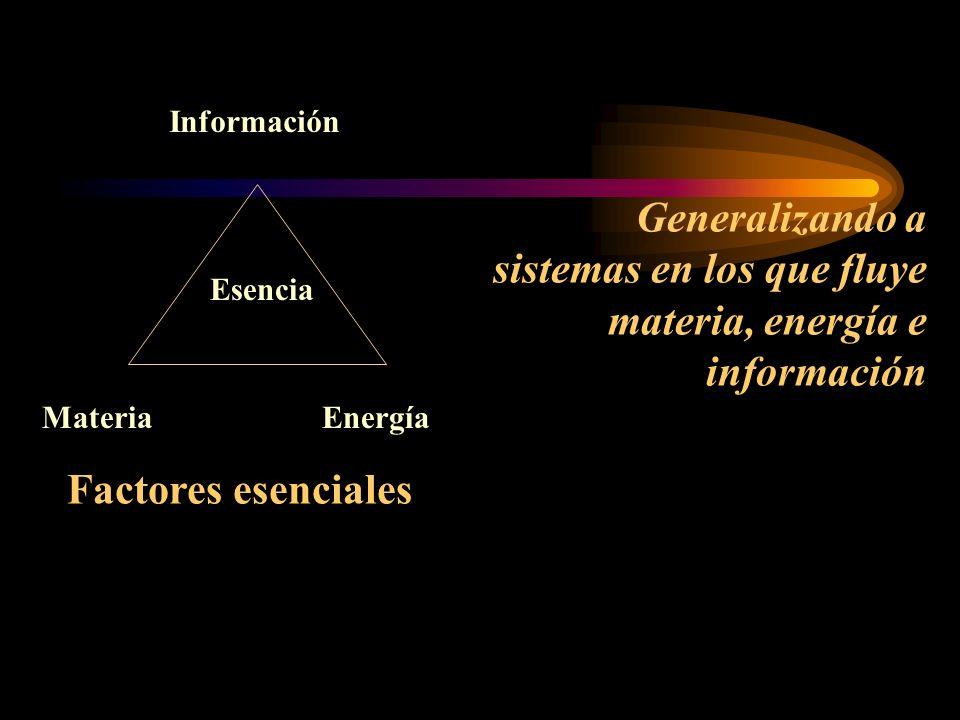 Información MateriaEnergía Esencia Generalizando a sistemas en los que fluye materia, energía e información Factores esenciales