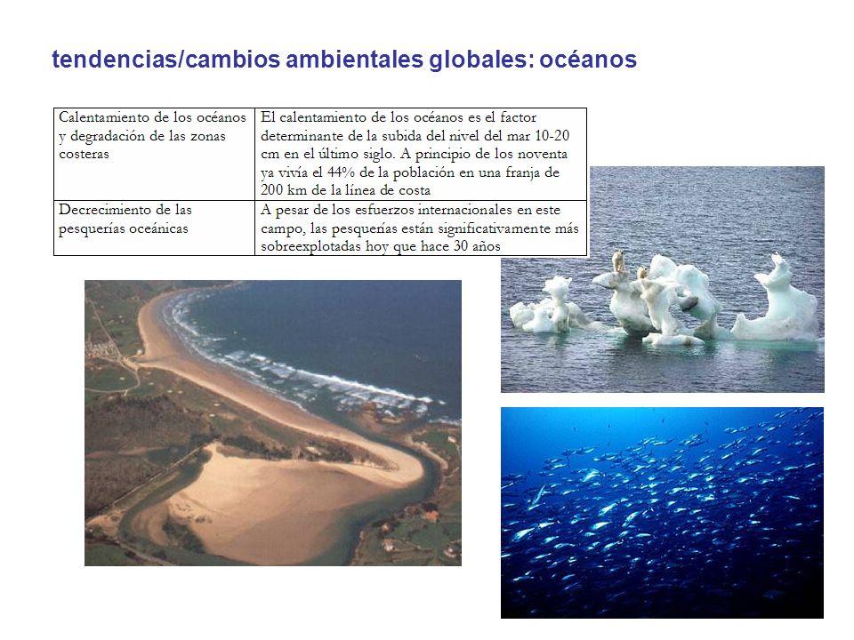 tendencias/cambios ambientales globales: océanos