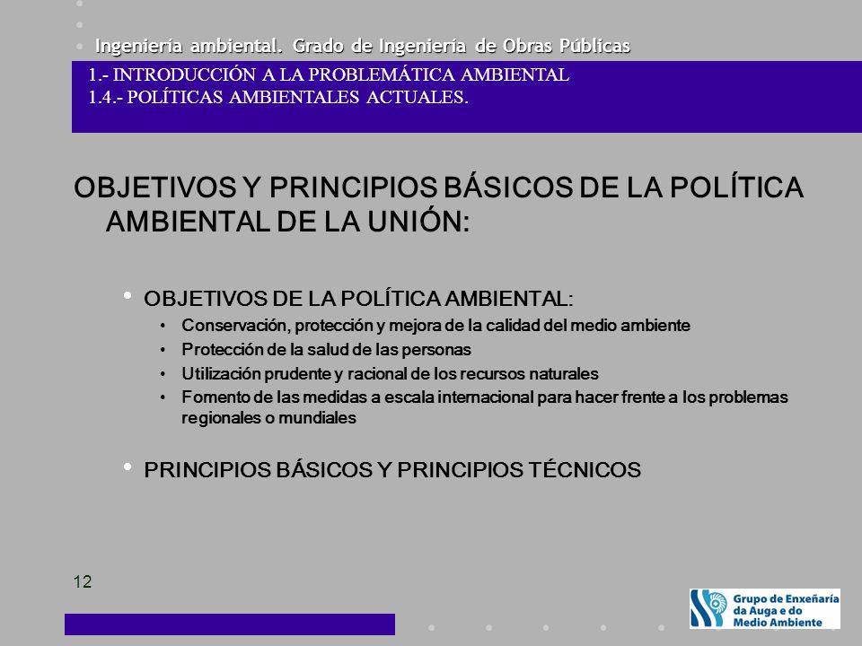 Ingeniería ambiental. Grado de Ingeniería de Obras Públicas 12 OBJETIVOS Y PRINCIPIOS BÁSICOS DE LA POLÍTICA AMBIENTAL DE LA UNIÓN: OBJETIVOS DE LA PO