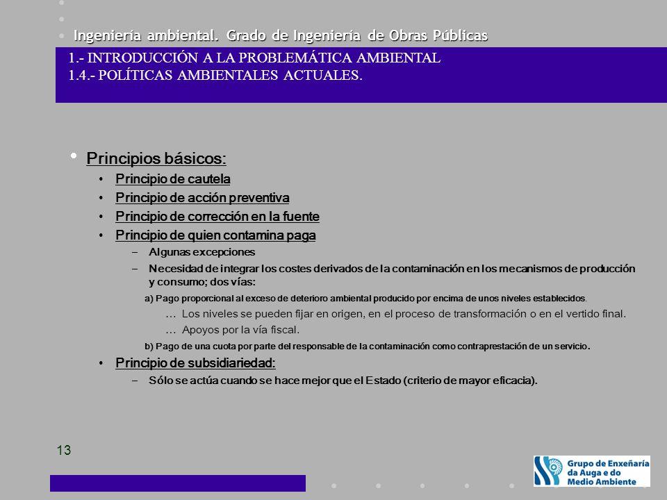 Ingeniería ambiental. Grado de Ingeniería de Obras Públicas 13 1.- INTRODUCCIÓN A LA PROBLEMÁTICA AMBIENTAL 1.4.- POLÍTICAS AMBIENTALES ACTUALES. Prin